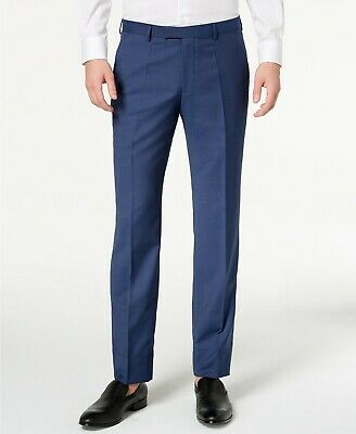 $198 Hugo Boss Modern-Fit Navy Blue Micro-Tic Suit Pants Mens 36S 36 x 32 NEW