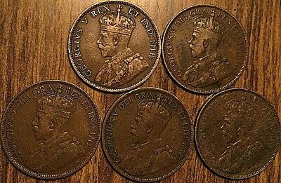 Lot Of 5 Canada Large Cent Penny Lot Of 5 Coins