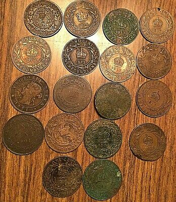 Lot Of 18 Canada  And Provincial Large Cents Lot Of 18 Coins