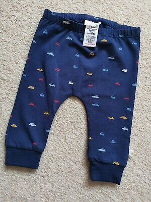 BNWOT Next Baby Boys Navy Blue Car Themed Joggers 3-6 Months