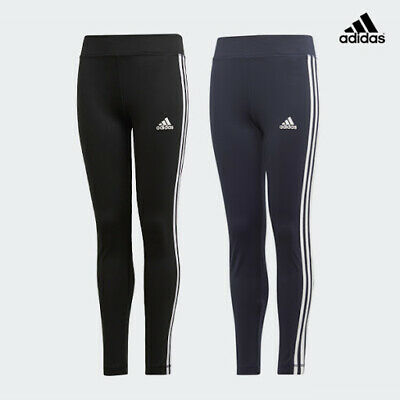 Adidas Girls Junior Stripe Leggings Joggers Jogging Bottoms Pants Gym Age 4-14
