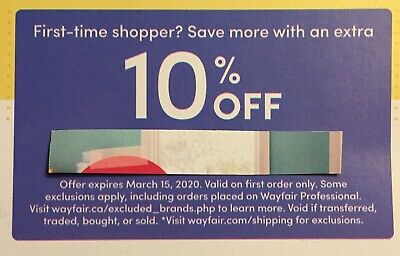 WAYFAIR 10% OFF Coupon - Expires 3/15/2020 - First Order Only/First-Time Shopper