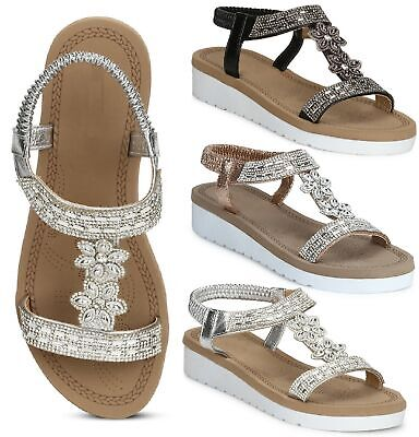 Womens Ladies Comfy Flat Low Heel Sling Back Hoilday Beach Sandals Shoes Size 3-