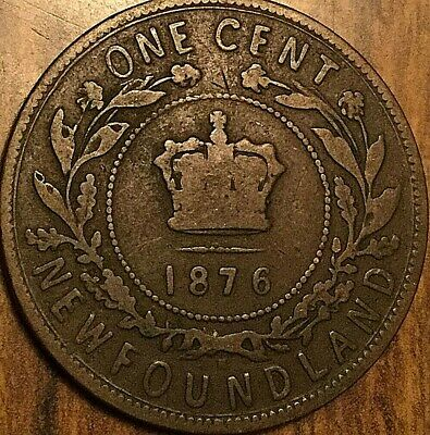1876 Newfoundland Large Cent Penny Large 1 Cent Coin
