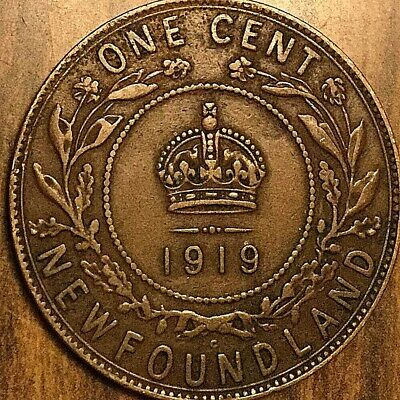1919 Newfoundland Large Cent Penny Large 1 Cent Coin