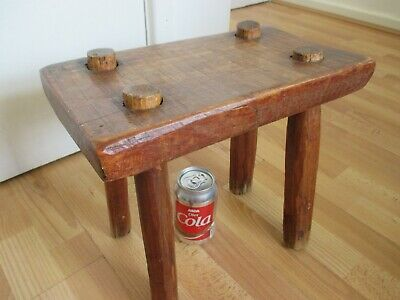 Beautiful Old Primitive Rustic Hand Crafted Wooden Milking Stool - Folk Art etc