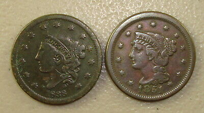 1838 Coronet Head Large Cent F Details & 1851 Braided Hair Large Cent VF Details