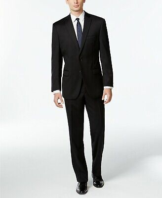 $650 Calvin Klein Mitchell Black Solid Slim Fit Suit Mens 44L 38w Unhem NEW