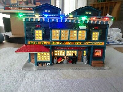 Lemax Village Hardware Store With Custom LED Christmas Lights.