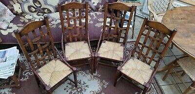 Arts & Crafts Lattice Back Dining Chairs