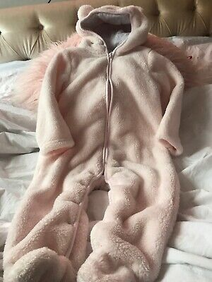 The Little White Company Girls Age 12/18m Faux Fur  Pink All In One With Hood