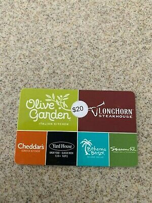 $20 Darden Gift Card for either Olive Garden Longhorn Yard House Bahama Breeze