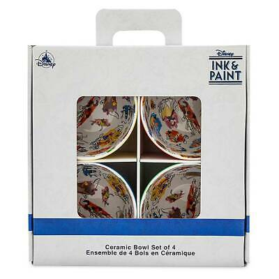 Disney Parks Ink & Paint Ceramic Bowl Set of 4 New with Box