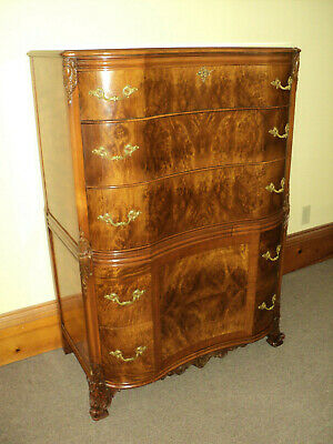 Antique French Priovincial Burl Mahogany Chest of Drawers/Dresser by Romweber,