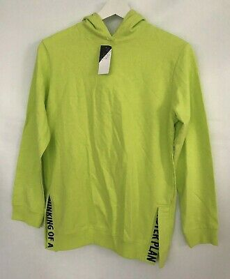 M&Co Kylie Girls Hoodie Age 11/12 yrs Neon Lime Green Cotton Sweatshirt NEW