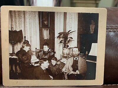 Vintage Cabinet Photo Of A Family Reading **