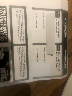 2 x Tickets For Chessington World Of Adventures 17/7/20