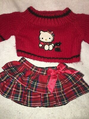 Build A Bear Hello Kitty Scotty Dog Tartan Sweater And Skirt Outfit
