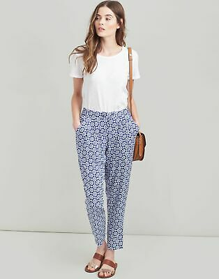 Joules Womens Sophia Printed Woven Trousers - NAVY GEO Size 6