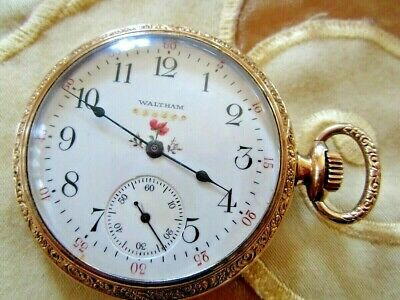 ANTIKE AWW.CO. WALTHAM,MASS TASCHENUHR 14 K gepunzt GOLD 1900 15 Juwels top