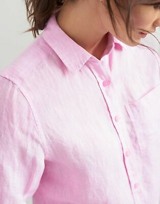 Joules Womens Jeanne Plain Long Line Linen Shirt - LIGHT PINK Size 6