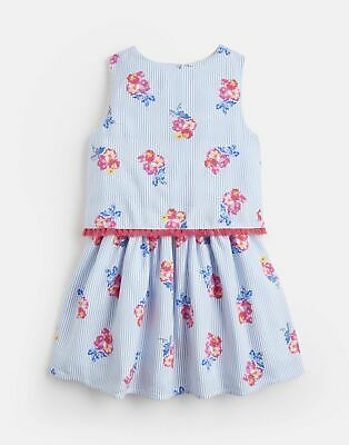 Joules Girls Imogen Woven Printed Dress  - BLUE FLORAL STRIPE Size 4yr