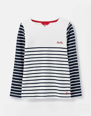 Joules Girls Harbour Luxe Embellished  - NAVY CHEST STRIPE Size 4yr