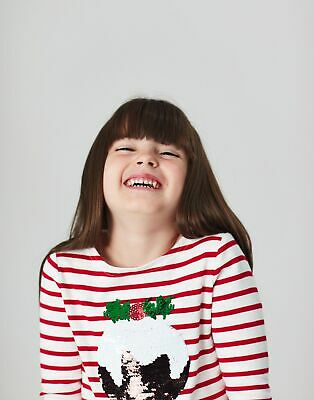 Joules Girls Festive Harbour Luxe   Embellished Top  -  Size 6yr