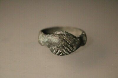 Ancient Fantastic Roman Bronze Ring * Handshake  1st - 4th century AD