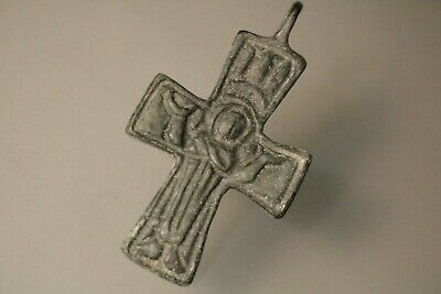 Ancient Byzantine Bronze Cross * Virgin Mary  6th -9th Century AD