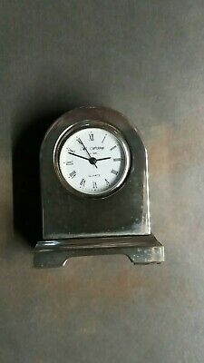 Wm widdop miniature silver metal mantle clock quartz movement