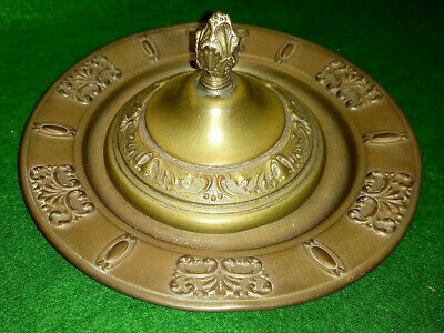 Unusual pressed Brass Compote / Caviar / offering Dish with lid