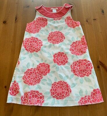 Janie & Jack Girls Sz 5 Pink, Green, White Lined Floral Dress 2014