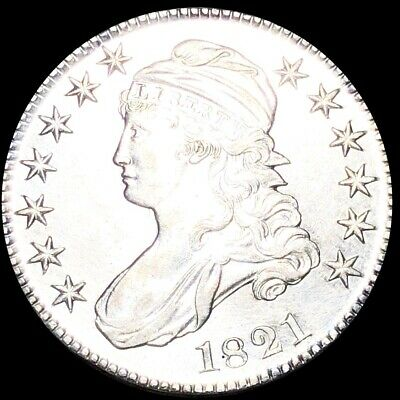1821 Capped Bust Half Dollar CLOSELY UNCIRCULATED Philadelphia 50c Silver Coin!