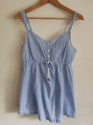 H&M Mama maternity Size S strappy striped summer blouse top - Blue