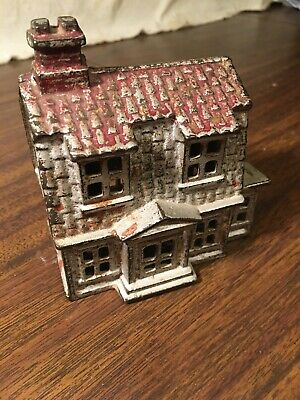 Vintage Cast Iron House Still Bank Pre 1920, Red And Silver Paint Large Dutch Co