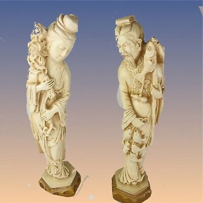 """Set of 2 vintage 15 """" tall PLASTER / CHALKWARE Chinese statues"""