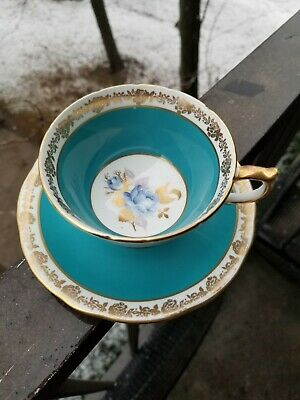 Aynsley teacup and saucer Aynsley tea cup and saucer Turquoise Blue Rose Center