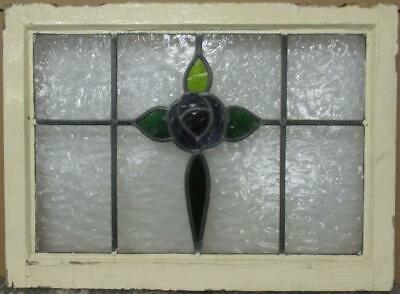 "MIDSIZE OLD ENGLISH LEADED STAINED GLASS WINDOW Mackintosh Rose 26.5"" x 19.5"""
