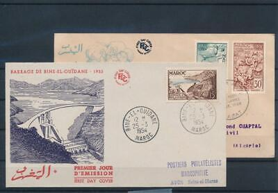 [G42556] French Morocco 1953/54 Two good FDC First Day Covers Very Nice