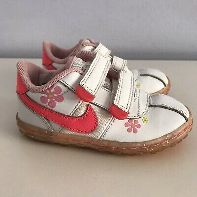 Baby NIKE Athletic Shoes - Toddler Girl 7 C - White/Pink Swoosh & Flowers