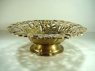 SOLID BRASS Embossed Pierced Pedestal Compote Ornate Grape Cluster & Leaf Design