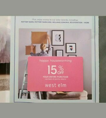 West Elm 15% OFF Entire Order 1Coupon Discount Expires 4/30/20