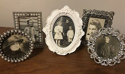 Lot of 5 Framed Vintage Photos Black & White Women Girls Family 1900 -1930's