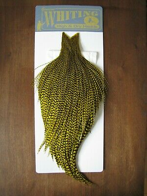 Fly Tying Whiting Rooster Cape Grizzly dyed Yellow #E