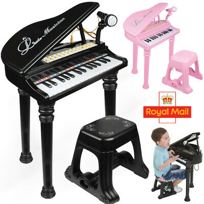 Kids Electronic Grand Piano Childrens Keyboard Toy 31 Keys Microphone and Stool