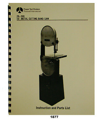 "Rockwell 9/""x16/"" Model 9 Horiz Bandsaw 20-916 Instruction /& Parts Manual #1942"