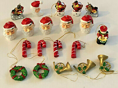 Lot of 20 Miniature Christmas Santas Candy Canes Wreaths Sled Drummer Ornaments
