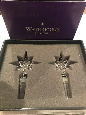 Set of 2 WATERFORD CRYSTAL Wine/BOTTLE STOPPER - CONGRATULATIONS STAR