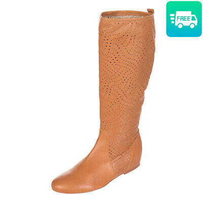 RRP €140 FORMENTINI Leather Knee High Boots EU36 UK3 US6 Openwork Made in Italy